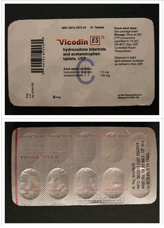 Counterfeit vicodin outside